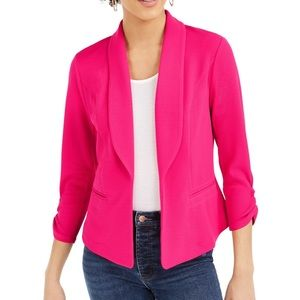Bar III Hot Pink Ruched Sleeve Blazer Size S